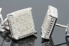 .60 CARAT WHITE GOLD FINISH MENS WOMENS 12mm 100% REAL DIAMONDS EARRINGS STUDS