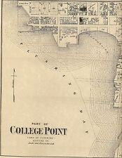 College Point Flushing NY 1873 Map with Homeowners Names Shown