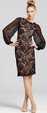 TADASHI SHOJI Black Sheer-Sleeve Lace Cocktail Dress. In Stores now!! SZ 12