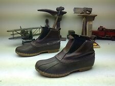 L.L. BEAN DISTRESSED MADE IN USA BLACK BROWN LEATHER DUCK BOOTS