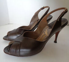 Vintage Brown Leather Peep Toe High Heel Shoes 8 N A'Mano Hand Made