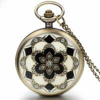 Women's Vintage Bronze Blossoms Pattern Quartz Pocket Watch Charm Necklace Chain