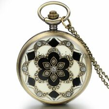 Women's Vintage Bronze Blossoms Pattern Quartz Pocket Watch Charm Necklace Chain