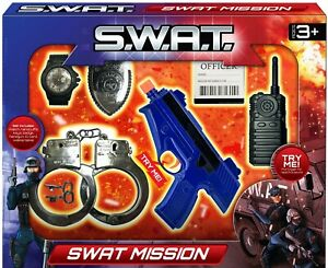 7 Piece Police Playset SWAT Mission Kids Dress Up Role Play Accessory Gun Sounds