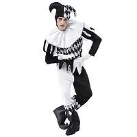 Erwachsene Herren # Harlekin schwarz & weiß Kostüm Clown Einheitsgröße komplette