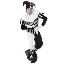 da uomo # ARLECCHINO bianco e nero Costume da clown pagliaccio taglia unica