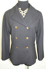 Philippe Adec Evita Black Double Breasted Jacket Gold Button 8 $640 D92