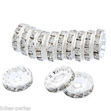 JP 5PCs White Rhinestone Metal Silver Plated Rondelle Spacer Beads 12mm