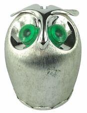 VTG Napier Owl Coin Bank Green Eyed Owl SilverTone Stainless Steel