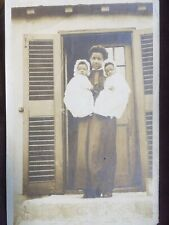 Vintage Orig photo-African-American woman holding cute babies-maybe twins c.1905