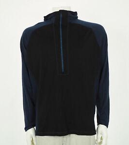 SmartWool Black Merino Wool Hoodie Hoody Tee Shirt Mens 2XL XXL