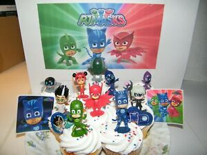 PJ Masks Cake Toppers 14 Set with 10 Figures, 2 Decorative Stickers and More