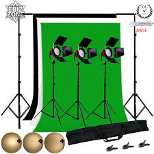 3x800W Continuous Lighting Video Studio Red Head Light Backdrop Green Background