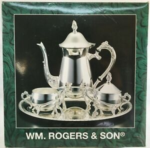 WM Rogers Silver Plated 4 Piece Coffee Set With Tray No.00115002 in Original Box