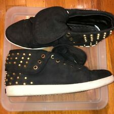 Boutique9 Katreen Black Suede Leather Foldover Gold Studded Sneakers 6.5