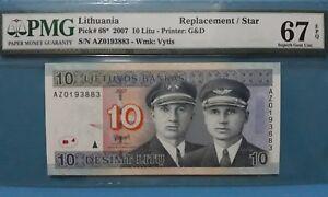 "2007 Lithuania 10 Litu PMG67 EPQ SUPERB GEM UNC  <P-68*> ""Replacement"""