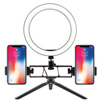 """10"""" Desktop Ring Light Tripod Stand Support 1/2 Phone for YouTube Video Makeup"""