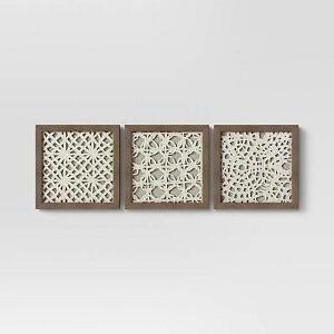 Threshold Rice Paper Shadow Box Wall Decor Set of 3 NEW