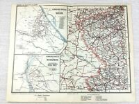 1902 Antique Railway Map of Vienna Austria Budapest Hungary Railroad Routes