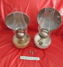 Antique Complete Pair Eagle Wall Mount Kerosene Lamps With Reflectors