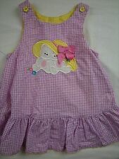 Toddler Girl 4t Purple Yellow plaid Bunny Teddy Bear Dress Top AUSTIN & ASHLEY
