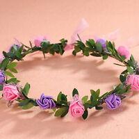 Girls Women Rose Flower Crown Headband Wreath Party Wedding Garland Headwear.