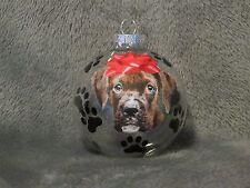 "HAND MADE MASTIFF 3"" GLASS CHRISTMAS ORNAMENT / BALL"