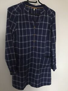 🌈 Joules Checked Navy Brushed Cotton Tunic Dress Size 10