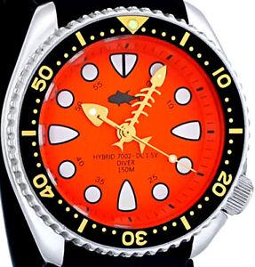 Vintage diver FISH BONE hands HYBRID Mod SHARK TOOTH dial with Genuine 7002 case