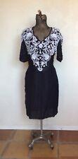VINTAGE 1980's SCALA BLACK BEADED Cocktail Evening Dress L