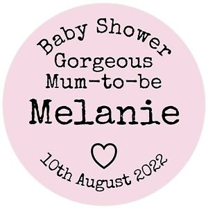 Personalised Baby Shower Stickers Gorgeous Mum-to-be Labels (BS-001)