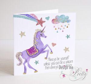 UNICORN Birthday Card - Girls Daughter Granddaughter Sister Niece Rainbow Pretty