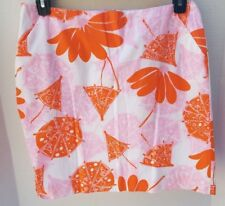 Lilly Pulitzer Womens Skirt White Orange Pink Umbrella Floral Lined SZ 8 Pockets