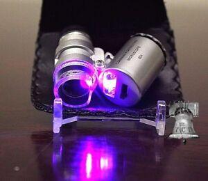 Mini 60x Adjustable Focus Microscope Magnifier LED Coin Error Grade Loupe B