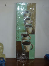 QUADRO VERTICALE ARTE caffè COLAZIONE BAR DIPINTO MANO artigianale cornice tela