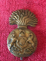 WW1 Royal Scots Fusiliers Brass Cap Badge Military British Army Genuine 8/3