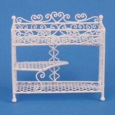 Dollhouse Miniature 3 Shelf White Wire Plant Stand 1:12 Scale or Fairy Garden