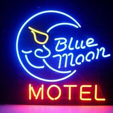 "New Blue Moon Motel Hotel Bar Cub Party Light Lamp Wall Decor Neon Sign 17""x14"""