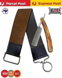 New Sharp Edge Straight Cut Throat Wet Shaving Razor and Leather Strop Sharpener