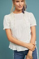 NEW $98 ANTHROPOLOGIE Meadow Rue Romantic Embroidered Lace Blouse WHITE Size 00