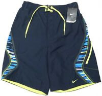 NWT $54 NIKE Swim Suit Trunks Mens Navy Blue Yellow Swoosh Sheds Water NEW