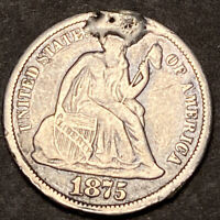 1875 CC Seated Liberty Silver Dime 10c High Grade Details Carson City Ex Jewelry