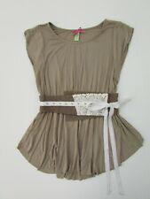 Downeast basics Women's Medium Taupe Beige Tan Belted Tee DC1