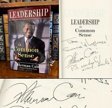 Leadership Is Common Sense HAND SIGNED by Herman Cain! Conservative! 2012! Rare!