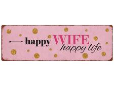 METALLSCHILD Blechschild Türschild HAPPY WIFE Spruch Ehe Frau Rosa Shabby