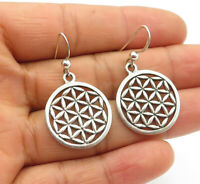925 Sterling Silver - Vintage Floral Cutout Pattern Dangle Earrings - E7042