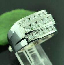 14k Solid White gold men's diamond  ring  Vs quality 3 rows Channel set 1.80ct