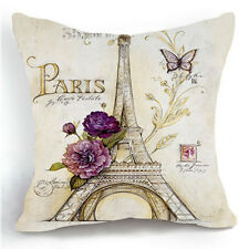 "Retro Sketch Flower Paris Eiffel Tower Home Decor Pillow Case Cushion Cover 18"""