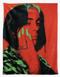 "Billie Eilish Red And Green Fleece Plush Throw Blanket 45"" X 60"""