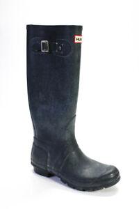 Hunter Womens Slip On Block Heel Rubber Knee High Logo Rain Boots Gray Size 7